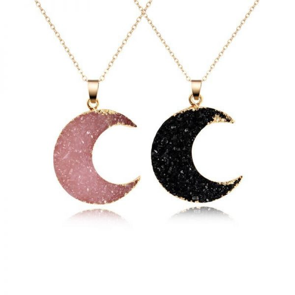 Pink and Black Moon Druzy Necklaces
