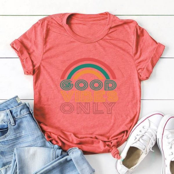 Good Vibes Only Rainbow T-Shirt Brick Red