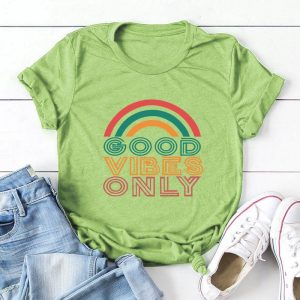 Good Vibes Only Rainbow T-Shirt Green